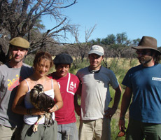 Students and research team in La Pampa, Argentina with Crowned Eagle