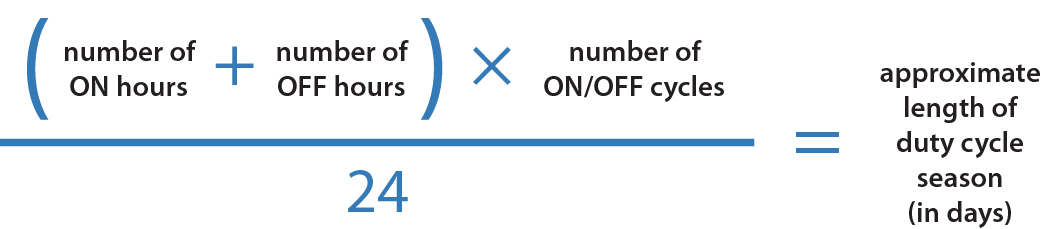 [(number of ON hours + number of OFF hours) x (number of ON/OFF cycles)] / 24 = approximate length of duty cycle season (in days)